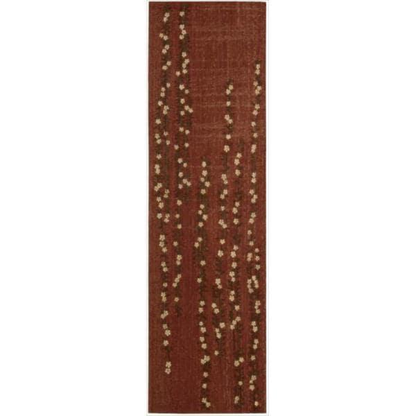 Nourison Liz Claiborne Radiant Impression Delicate Floral Crimson Rug - 2'3 x 8'