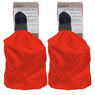 Heavy Duty Jumbo Sized Nylon Laundry Bags (Set of 2) (Option: Red)