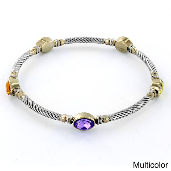 West Coast Jewelry Two-tone Oval-cut Crystal Twist Wrapped Bangle Bracelet