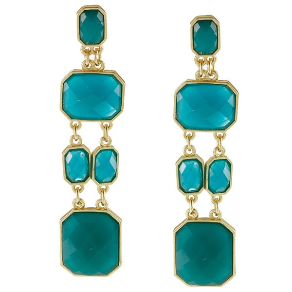 Kenneth Jay Lane Goldtone Turquoise Color Drop Earrings