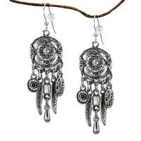 Handmade Jewelry by Dawn Long Chandelier Antique Pewter Colored Earrings (USA) - Silver