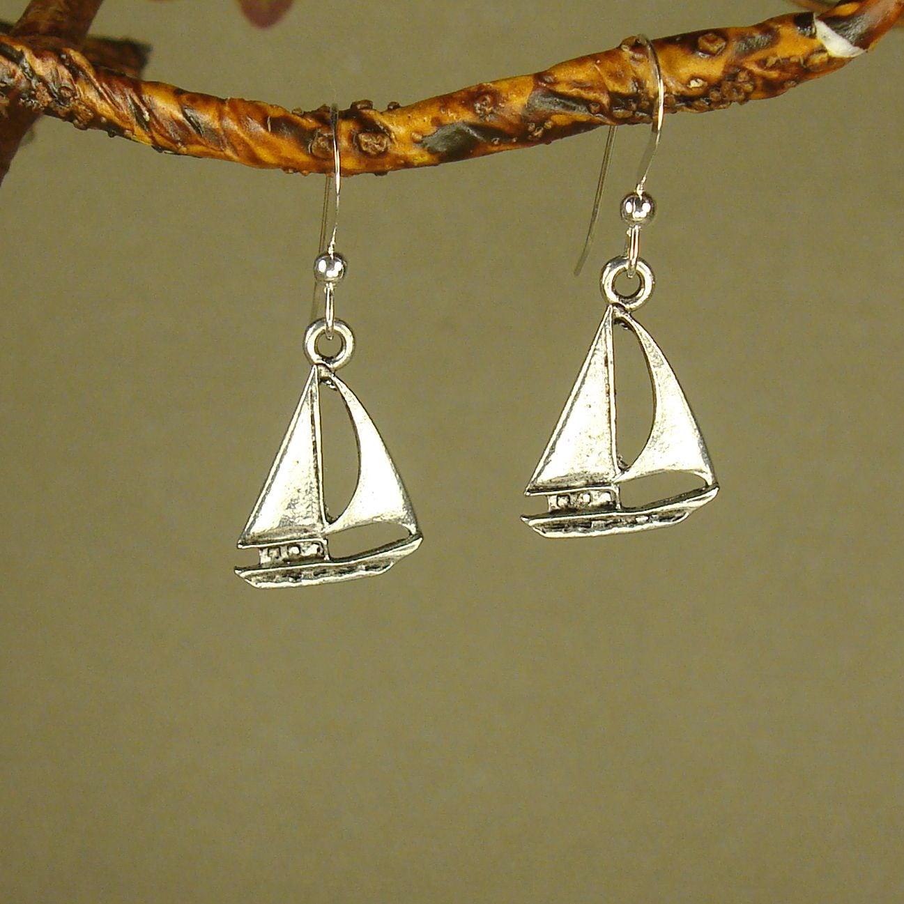 Jewelry by Dawn Pewter Sailboat Earrings (Silver), Women'...