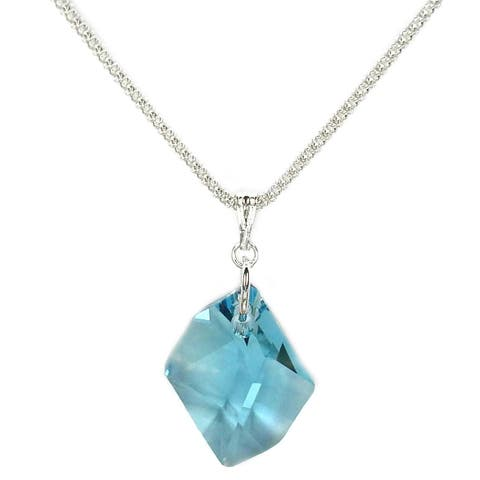 Handmade Jewelry by Dawn Aquamarine Cosmic Crystal Sterling Silver Popcorn Chain Necklace (USA)
