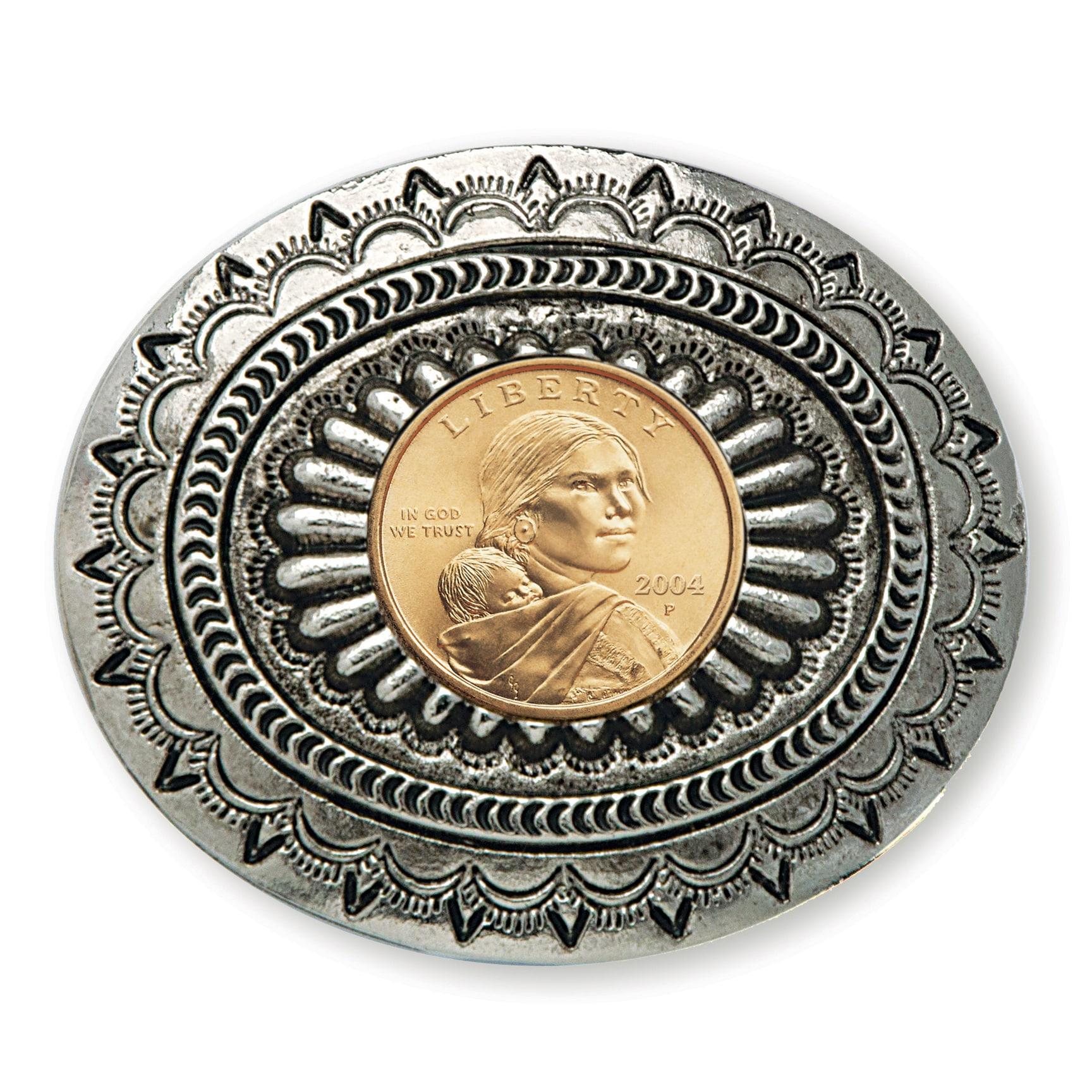 American Coin Treasures Sacagawea Golden Dollar Belt Buckle