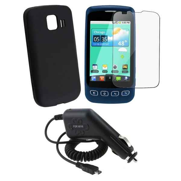 BasAcc Car Charger/ Silicone Case/ Protector for LG Optimus S LS670