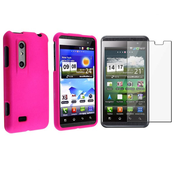 BasAcc Hot Pink Case/ Screen Protector for LG Thrill 4G/ Optimus 3D