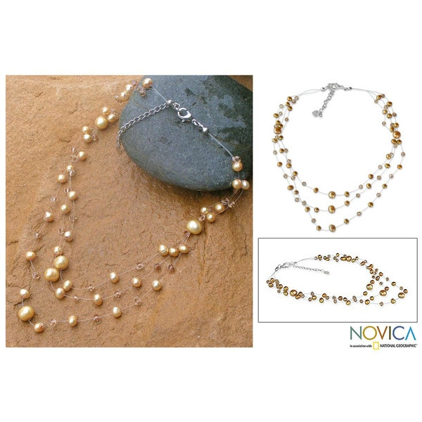 Handcrafted 'Gossamer Gold' Pearl Necklace (5-9 mm) (Thailand)