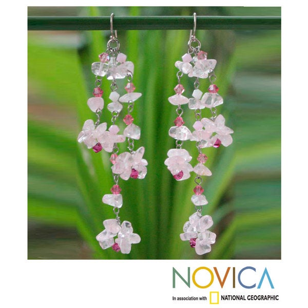 Handmade Sterling Silver 'Rosy Rain' Rose Quartz Earrings (Thailand)