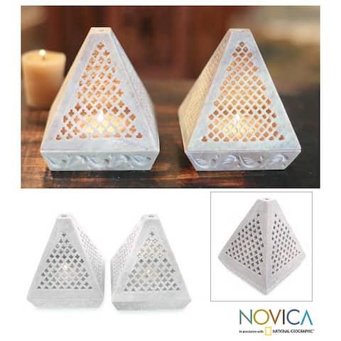 Handmade Lace Pyramid Soapstone Candleholder, Set of 2 (India)