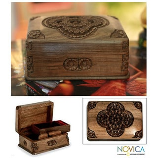 Handcrafted Walnut Wood 'Treasured Roses' Jewelry Box (India)