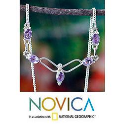 Sterling Silver 'Flight' Amethyst Necklace (India)