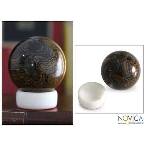 Handcrafted Stromatolite 'Pluto' Sphere , Handmade in Peru