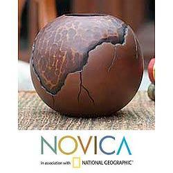 Handmade Mango Wood 'Prehistory' Vase (Thailand)