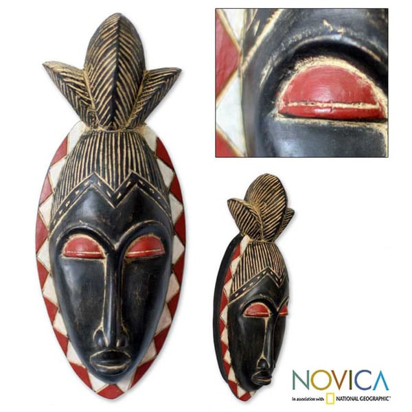 Handcrafted Sese Wood 'Guro Ancestor' African Mask (Ghana)