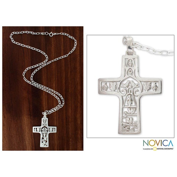 Handmade Sterling Silver 'Cross of Life' Cross Necklace (Mexico)