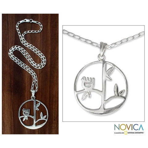 Handmade Sterling Silver 'Circle of Life' Cross Necklace (Mexico)