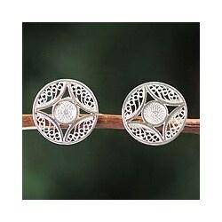 Silver Handmade 'Harvest Moon' Filigree Earrings (Peru)