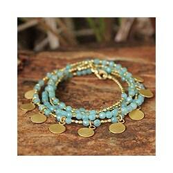 Gold Overlay 'Aqua Deva Dancer' Quartz Bracelet (Thailand)
