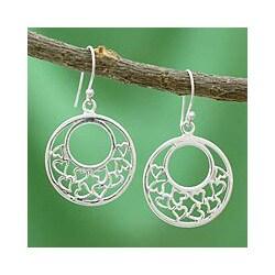 Handmade Sterling Silver 'Joyous Love' Earrings (India)
