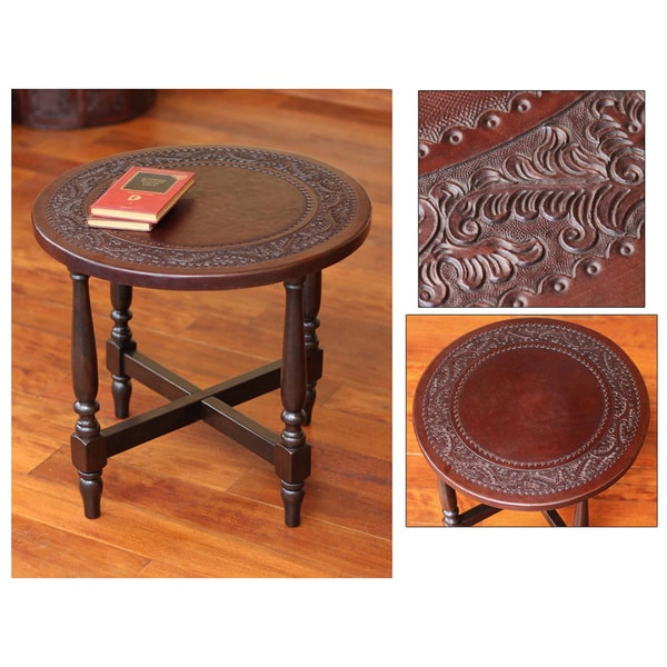 Colonial Guard Artisan Handmade Hand Tooled Leather Brown Mohena Wood Home  Decor Furniture Round Nightstand End