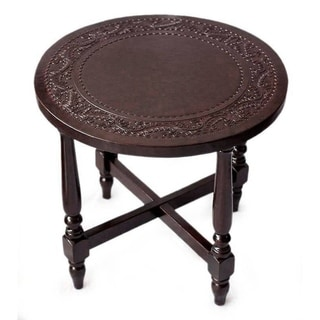 Colonial Guard Artisan Handmade Hand Tooled Leather Brown Mohena Wood Home Decor Furniture Round Nightstand End Table (Peru)