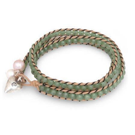 Handmade Leather 'Forest Heart' Quartz Pearls Bracelet (6, 7.5 mm) (Thailand) - Green
