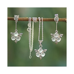 Sterling Silver 'Silver Clover' Moonstone Jewelry Set (India)