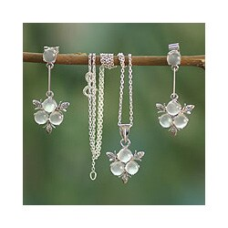 Handmade Sterling Silver 'Silver Clover' Moonstone Jewelry Set (India)