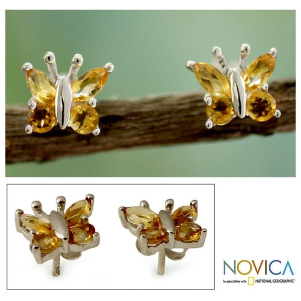 Sterling Silver 'Princess Butterfly' Citrine Button Earrings  (India)