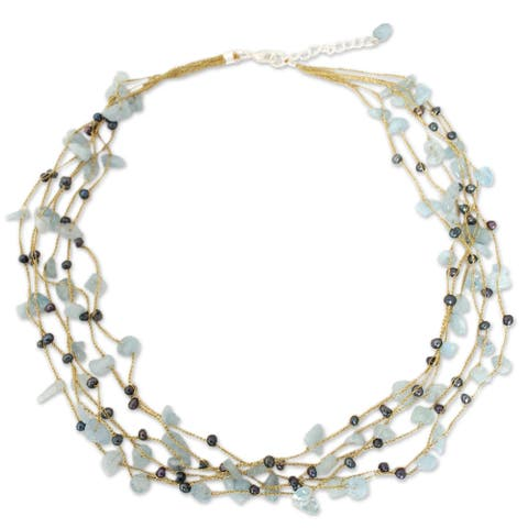 Handmade Silk Afternoon Sigh Aquamarine and Pearl Necklace 3 mm (Thailand)