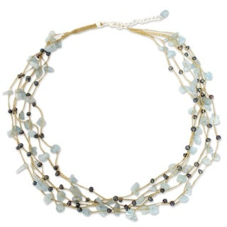 Handmade Silk 'Afternoon Sigh' Aquamarine and Pearl Necklace (3 mm) (Thailand)|https://ak1.ostkcdn.com/images/products/7226565/P14709056.jpg?_ostk_perf_=percv&impolicy=medium