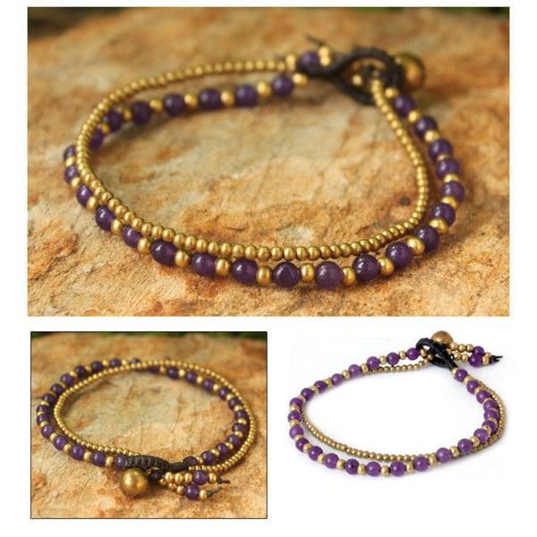 Handmade Brass 'Dazzling Harmony' Amethyst Bracelet (Thailand)