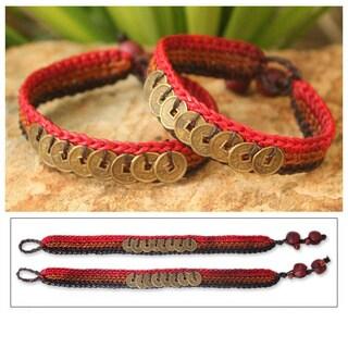 Set of 2 Handmade Brass 'Cinnamon Coins' Bracelets (Thailand)