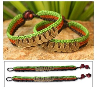 Set of 2 Handmade Brass 'Kiwi Coins' Bracelets (Thailand)