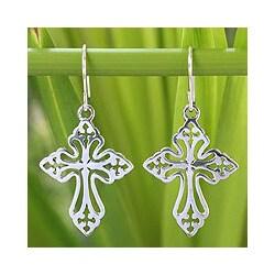Handmade Sterling Silver 'Holy Cross' Earrings (Thailand)