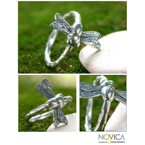 Handmade Sterling Silver Men's 'Dragonfly Fortunes' Ring (Indonesia)