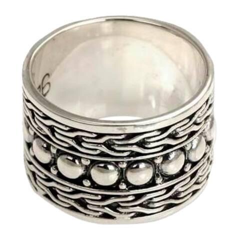 Handmade Men's Sterling Silver Warrior Ring (Indonesia)