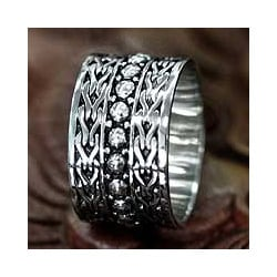 Handmade Men's Sterling Silver 'Warrior' Ring (Indonesia)