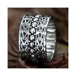 Handmade Men's Sterling Silver 'Warrior' Ring (Indonesia)