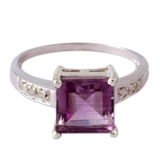 Handmade Sterling Silver 'Lilac Sparkle' Diamond Accent Amethyst Ring (India)