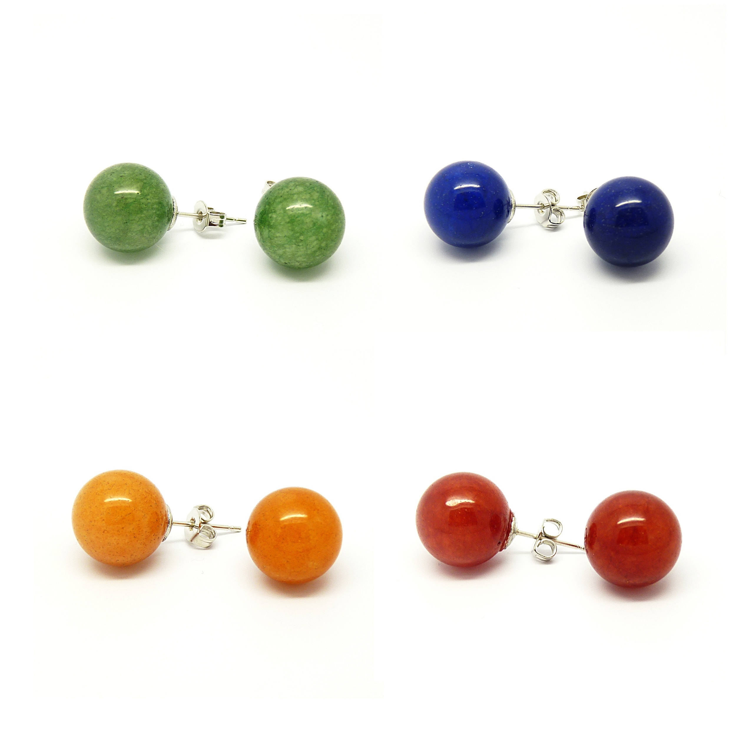 Pretty Little Style Silvertone Jade Stone Colors Earrings