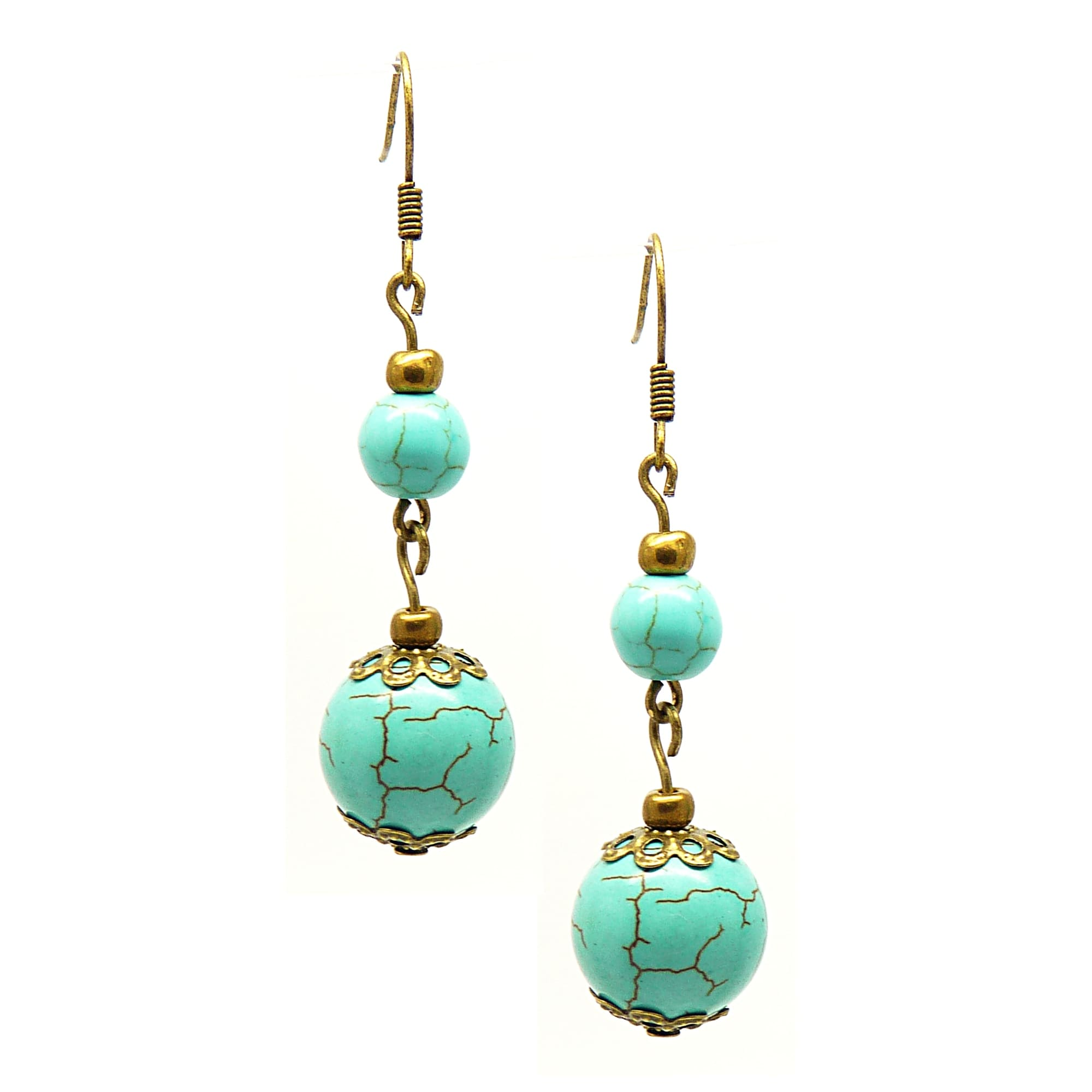Pretty Little Style Antique Bronze Turquoise Dangle Earrings