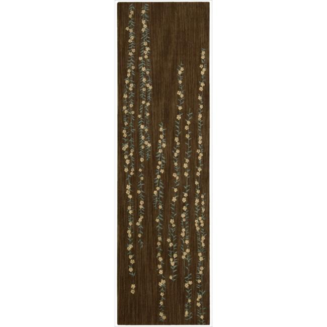 Nourison Liz Claiborne Radiant Impression Delicate Floral Chocolate Rug  (2'3 x 8')