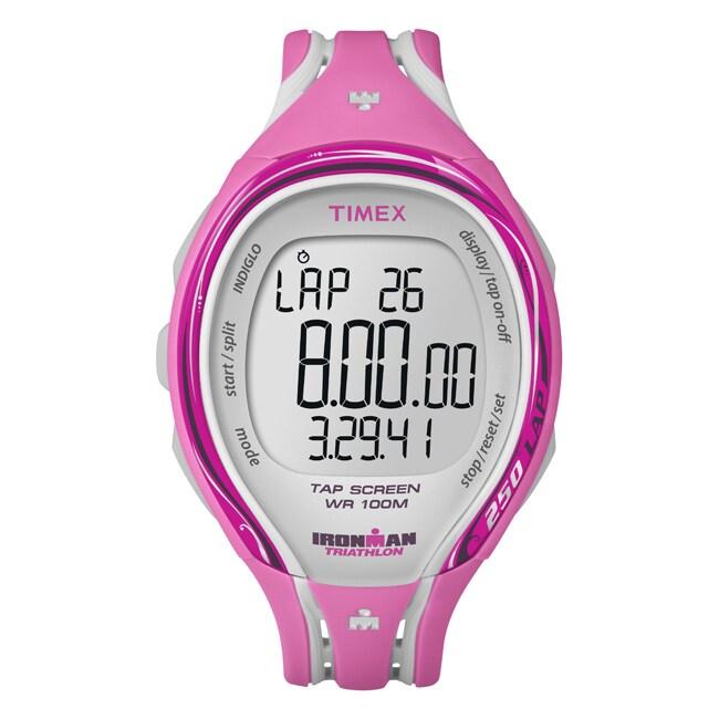 Timex T5K591DH Women's Ironman Sleek 250-lap TapScreen Pink/ Grey Watch