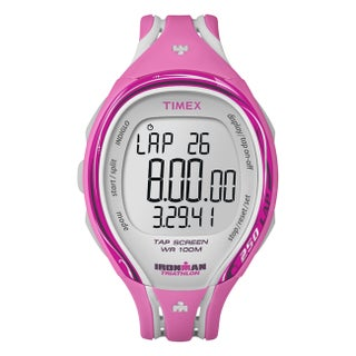 Timex T5K591DH Women's Ironman Sleek 250-lap TapScreen Pink/ Grey Watch