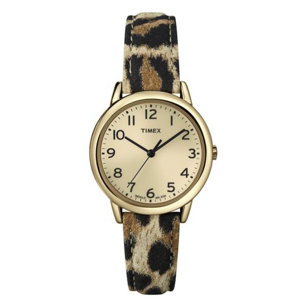 Timex T2N9669J Women's Elevated Classics Leopard Patterned Strap Watch