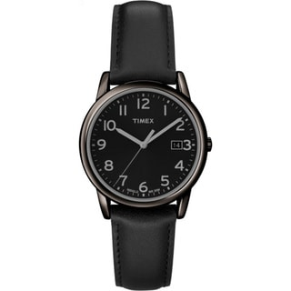 Timex Men's T2N947 Elevated Classics Dress All Black Leather Strap Watch