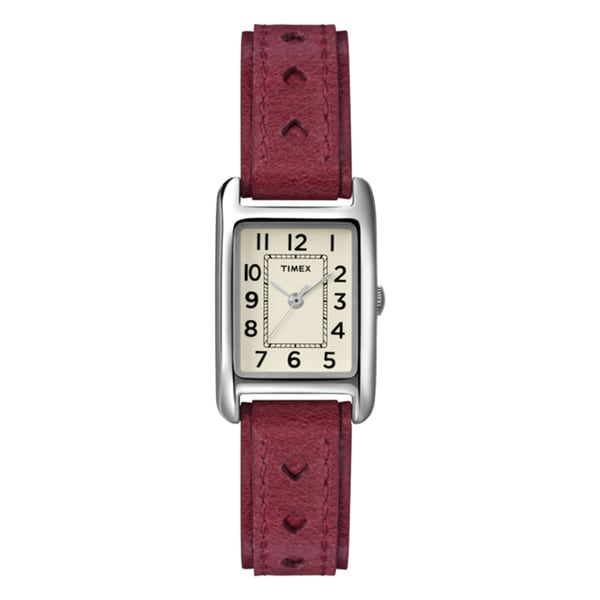 Timex T2N906KW Women's Weekender Rectanglular Case Red Leather Strap Watch