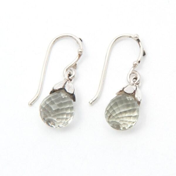 Handmade Sterling Silver Green Amethyst Drop Earrings (India)