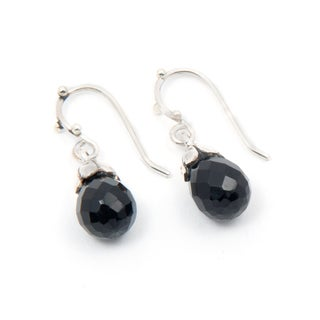Handmade Sterling Silver Black Onyx Earrings (India)